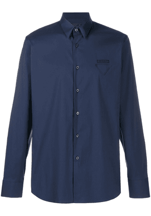 Prada plain logo patch shirt - Blue