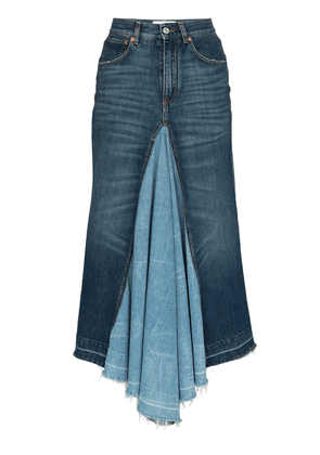 Givenchy contrast panel denim midi skirt - Blue