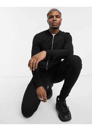 ASOS DESIGN muscle tracksuit with bomber jacket in black