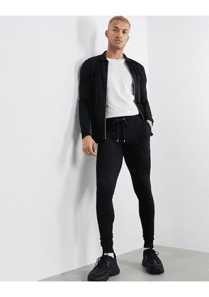 ASOS DESIGN muscle tracksuit with harrington jacket in black