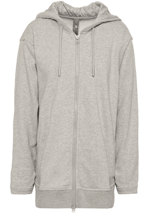 Adidas By Stella Mccartney French Cotton-blend Terry Hooded Sweatshirt Woman Light gray Size L