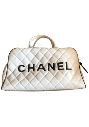 Chanel  white leather travel bag
