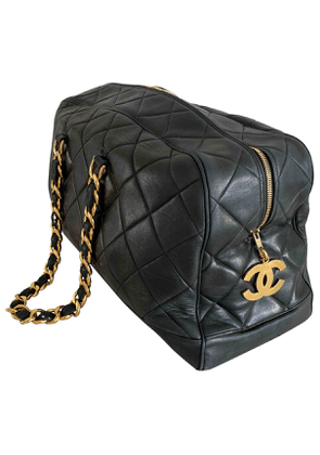 Chanel  navy leather travel bag