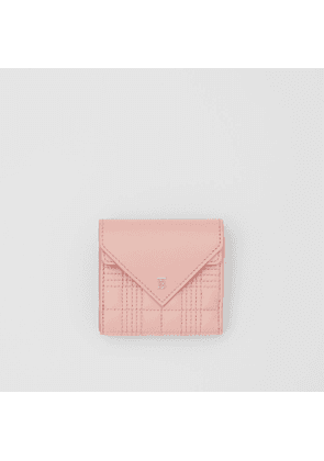Burberry Quilted Lambskin Folding Wallet, Pink