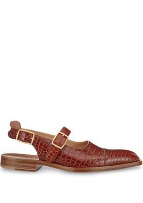 Fendi crocodile print closed sandals - Brown