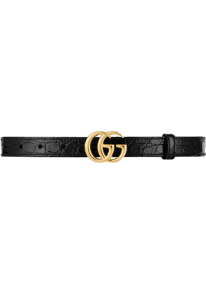 Gucci Double G crocodile-effect belt - Black