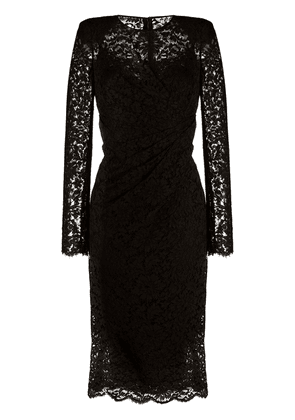 Dolce & Gabbana ruched lace midi dress - Black