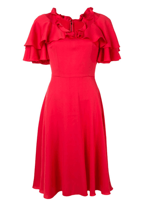 Dolce & Gabbana cape sleeve ruffle dress - Red