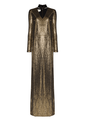 Gucci patent choker chainmail gown - GOLD