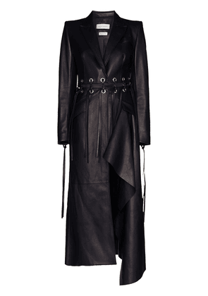 Alexander McQueen fringed cutout leather coat - Blue