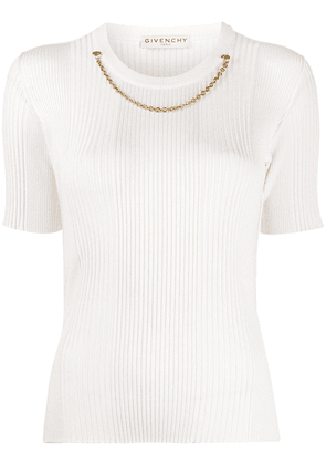 Givenchy chain detailed knitted top - White