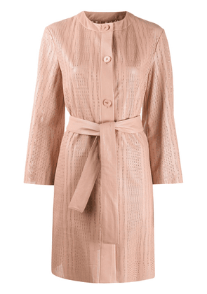 Drome perforated belted trench coat - PINK