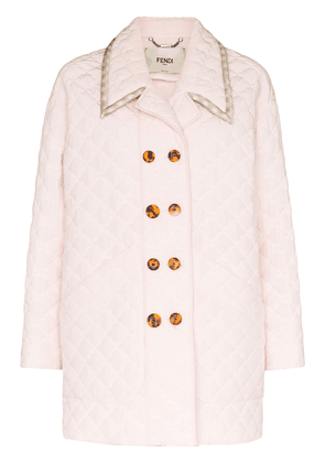 Fendi quilted double-breasted coat - PINK