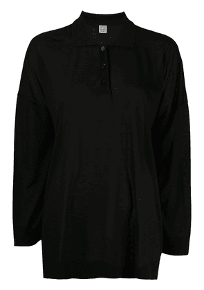 Totême Barzio oversized polo top - Black
