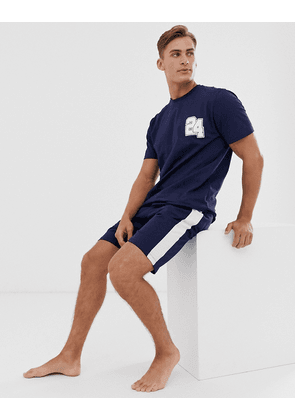 ASOS DESIGN lounge pyjama short and tshirt set with collegiate number and branded waistband-Navy