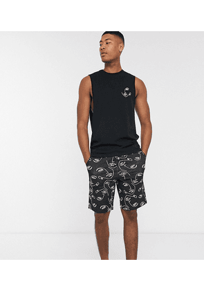 ASOS DESIGN Tall lounge pyjama vest and short set in hand drawn face print-Multi
