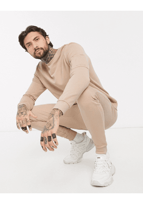 ASOS DESIGN tracksuit with MA1 pockets in beige