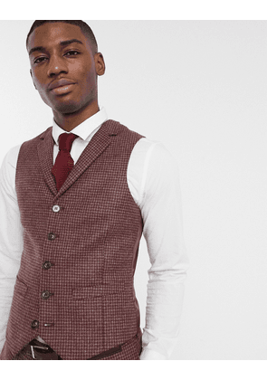 ASOS DESIGN slim suit waistcoat in burgundy and grey 100% lambswool puppytooth-Red