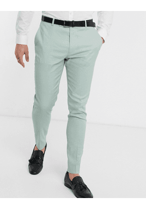 ASOS DESIGN wedding super skinny suit trousers in stretch cotton linen in mint green