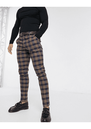 ASOS DESIGN skinny suit trousers in mustard and red bold check-Grey