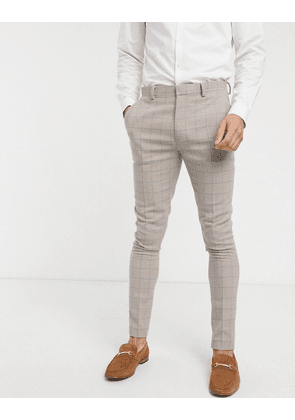 ASOS DESIGN wedding super skinny suit trousers in wool mix with beige grid check