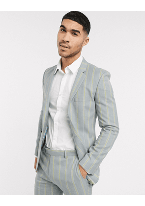 ASOS DESIGN super skinny suit jacket in ice grey and yellow bold stripe