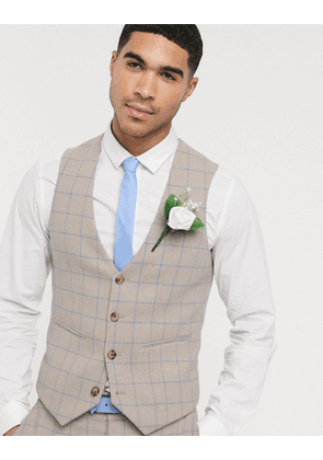 ASOS DESIGN wedding super skinny suit waistcoat in wool mix with beige grid check