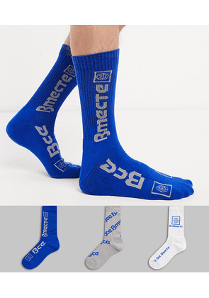 ASOS DESIGN 3 pack sport sock in blue with future text slogan