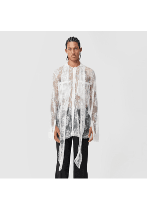 Burberry Chantilly Lace Oversized Tie-neck Shirt, White