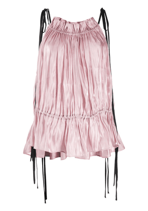 16Arlington pleated two tone blouse - PINK