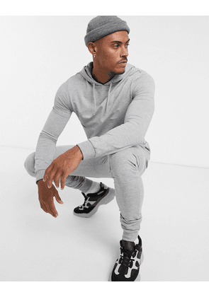 ASOS DESIGN muscle tracksuit with hoodie in grey marl