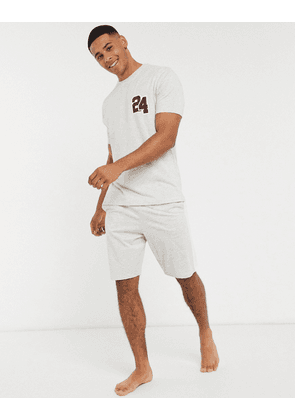ASOS DESIGN lounge pyjama short and tshirt set with collegiate number and branded waistband in grey