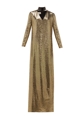 Gucci - Leather-choker Chainmail Maxi Dress - Womens - Gold