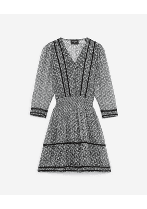 The Kooples - Short navy blue floral dress with lace detail - WOMEN