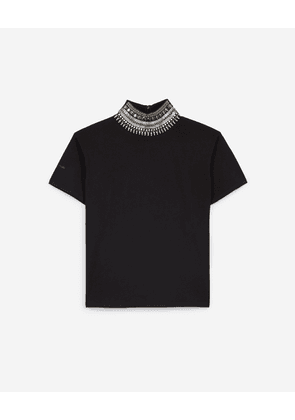 The Kooples - Black rock-style top w/high neck and necklace - WOMEN