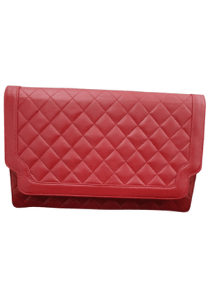 Chanel  red leather clutch bag