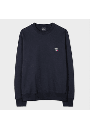 Men's Dark Navy Organic-Cotton Embroidered 'UFO' Motif Sweatshirt