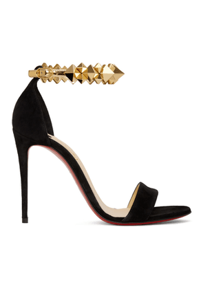 Christian Louboutin Black and Gold Suede Planetava 100 Sandals