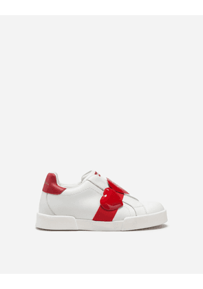Dolce & Gabbana Shoes (24-38) - PORTOFINO LIGHT SNEAKERS IN NAPPA LEATHER WITH HEARTS WHITE/RED