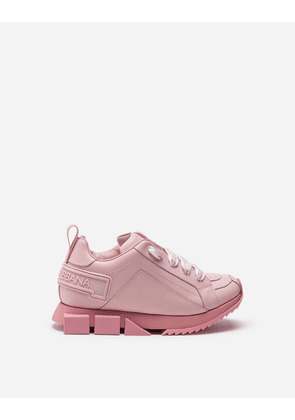 Dolce & Gabbana Shoes (24-38) - CALFSKIN SUPER QUEEN SNEAKERS WITH BRANDED LACES PINK