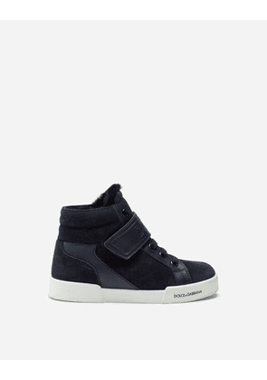 Dolce & Gabbana Shoes (24-38) - PORTOFINO LIGHT HIGH-TOP SNEAKERS IN SPLIT-GRAIN LEATHER BLUE