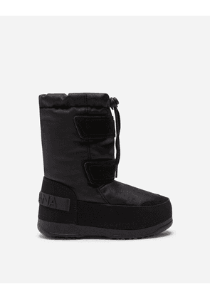 Dolce & Gabbana Shoes (24-38) - NYLON AND SPLIT-GRAIN LEATHER SNOW BOOTS WITH LOGO BLACK