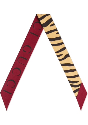 Gucci Silk neck bow with tiger print - Yellow