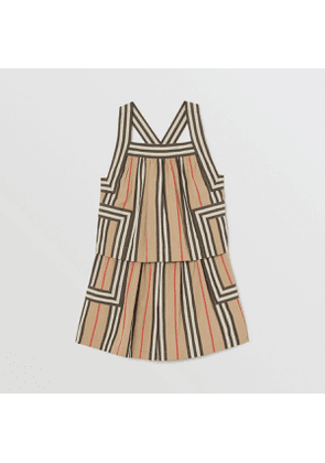 Burberry Childrens Icon Stripe Cotton Poplin Playsuit