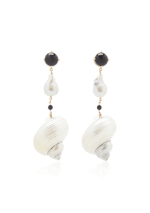 Prada Sterling Silver Shell and Pearl Earrings