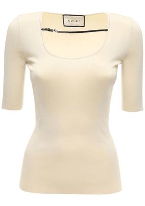 Viscose Fine Knit Top W/ Coated Detail