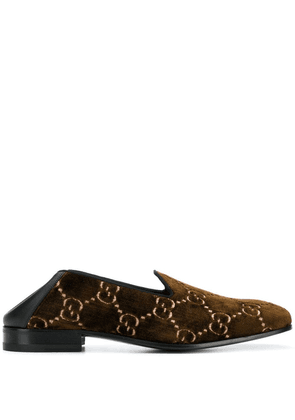 Gucci GG velvet loafers - Brown