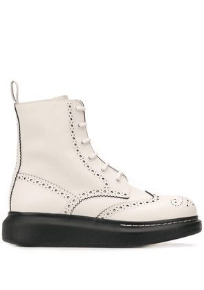 Alexander McQueen Hybrid lace-up boots - White