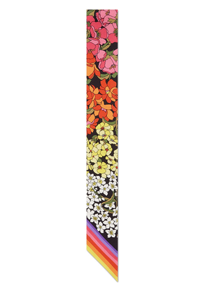 Gucci GG and flowers print silk neck bow - Multicolour