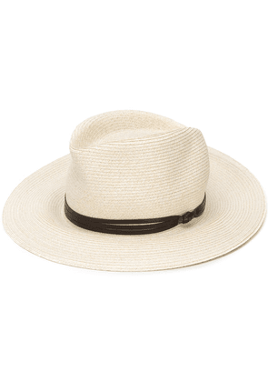 Eleventy leather ribbon detail hat - NEUTRALS